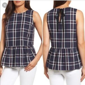 Halogen Plaid peplum bow back top